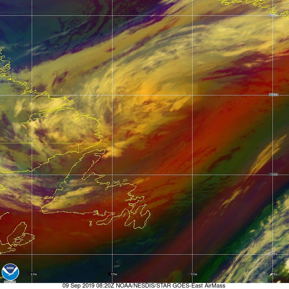 Air Mass - RGB composite based on the data from IR and WV - 09 Sep 2019 - 0820 UTC