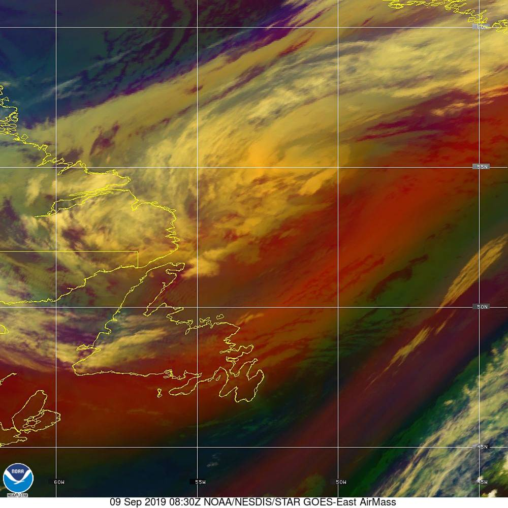 Air Mass - RGB composite based on the data from IR and WV - 09 Sep 2019 - 0830 UTC