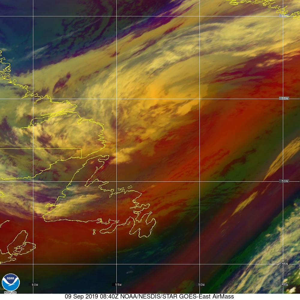 Air Mass - RGB composite based on the data from IR and WV - 09 Sep 2019 - 0840 UTC