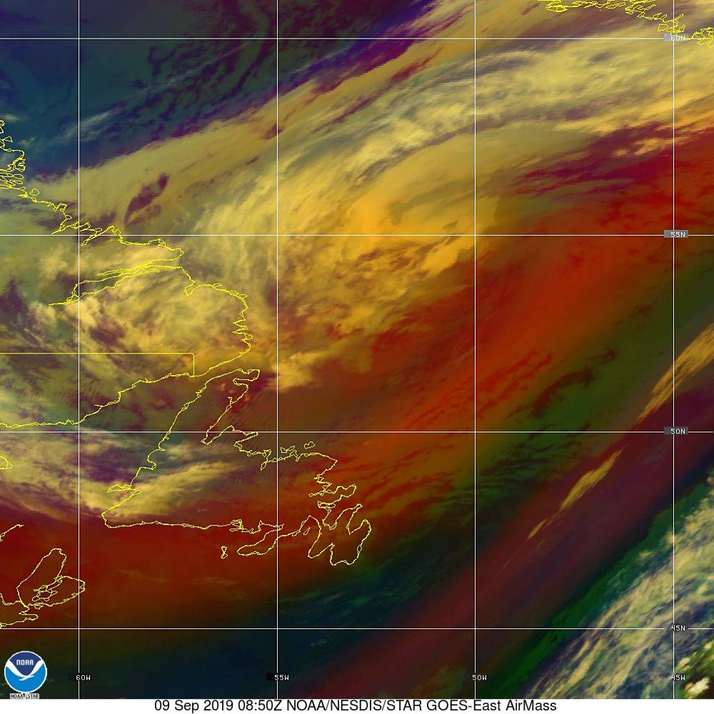 Air Mass - RGB composite based on the data from IR and WV - 09 Sep 2019 - 0850 UTC