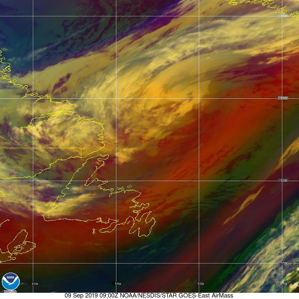 Air Mass - RGB composite based on the data from IR and WV - 09 Sep 2019 - 0900 UTC