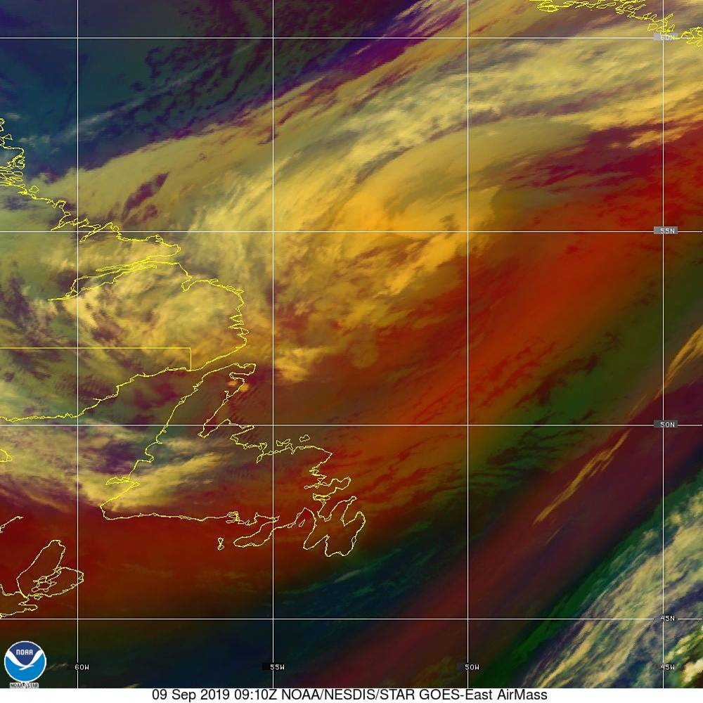 Air Mass - RGB composite based on the data from IR and WV - 09 Sep 2019 - 0910 UTC
