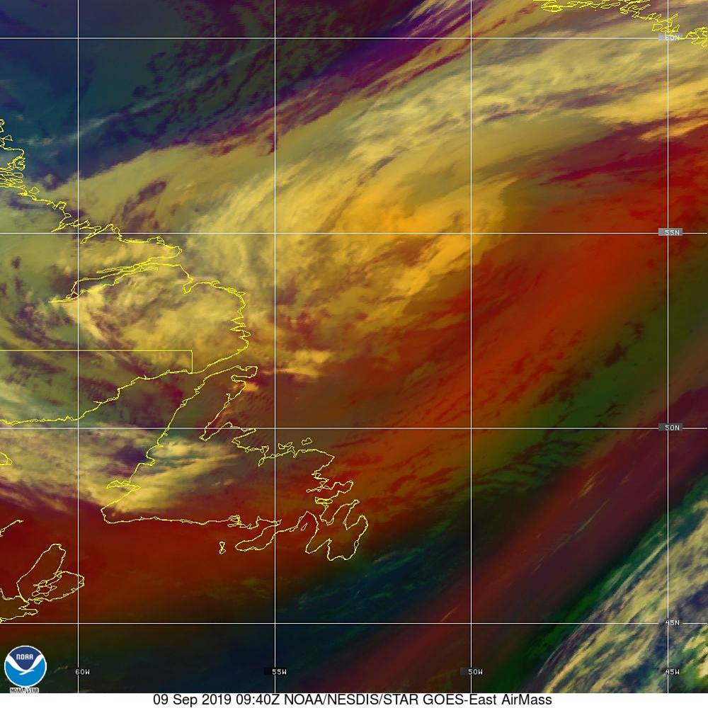 Air Mass - RGB composite based on the data from IR and WV - 09 Sep 2019 - 0940 UTC