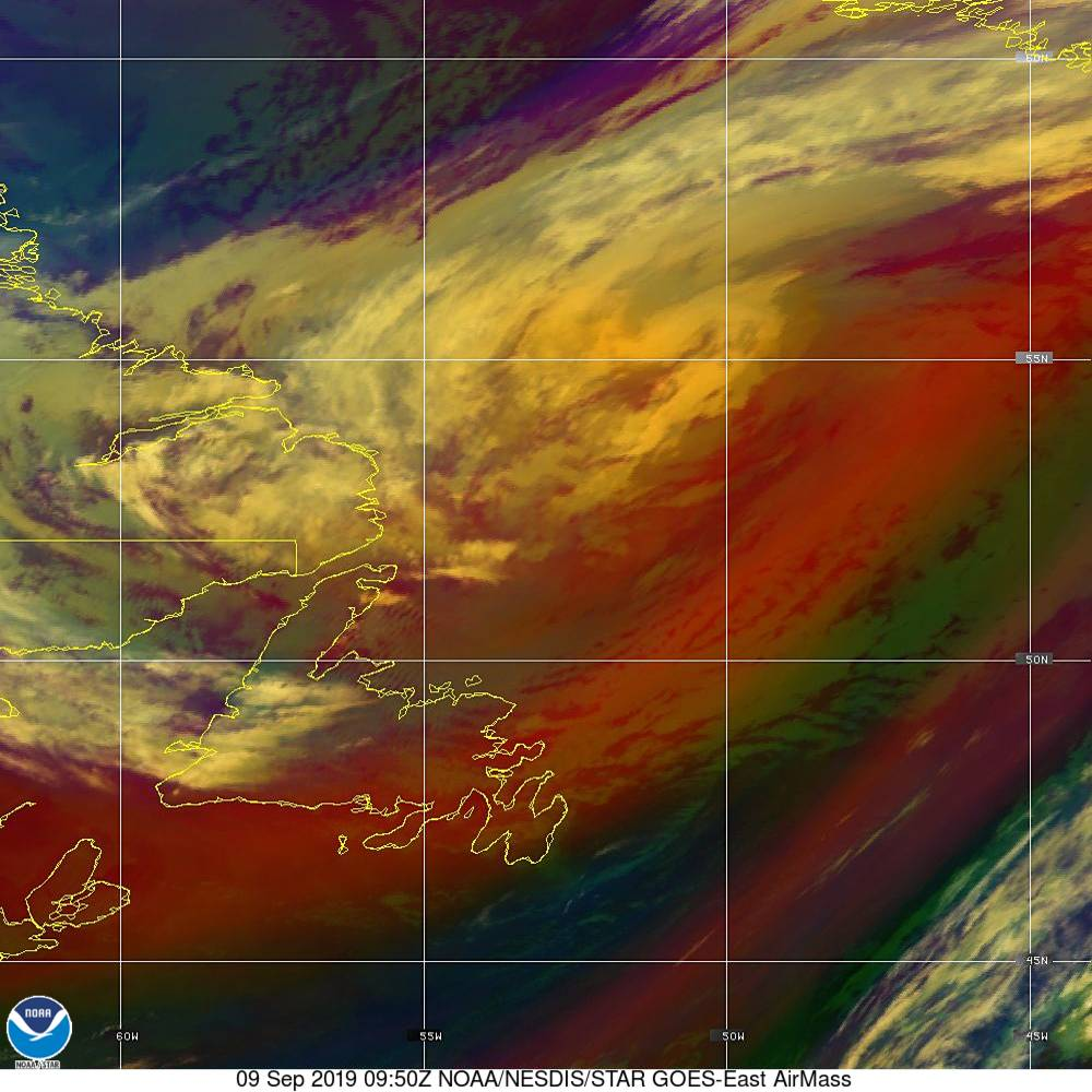 Air Mass - RGB composite based on the data from IR and WV - 09 Sep 2019 - 0950 UTC