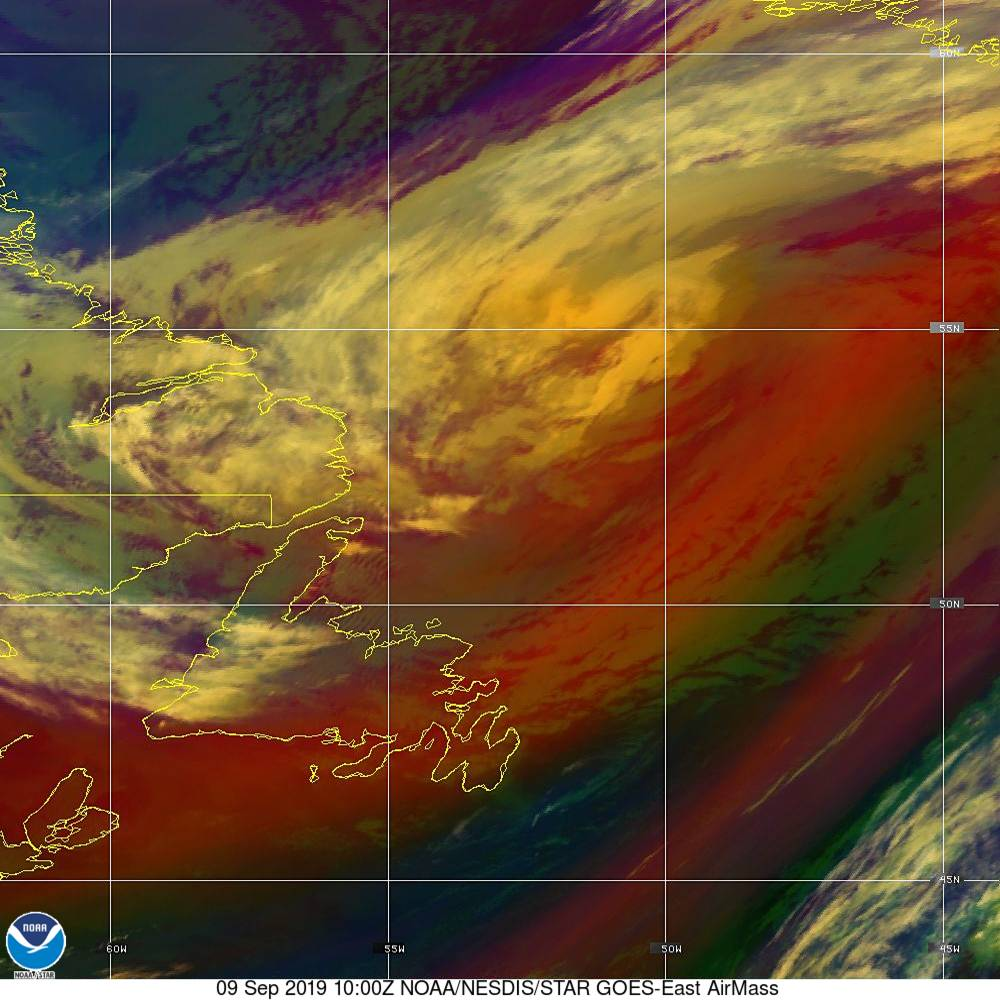Air Mass - RGB composite based on the data from IR and WV - 09 Sep 2019 - 1000 UTC