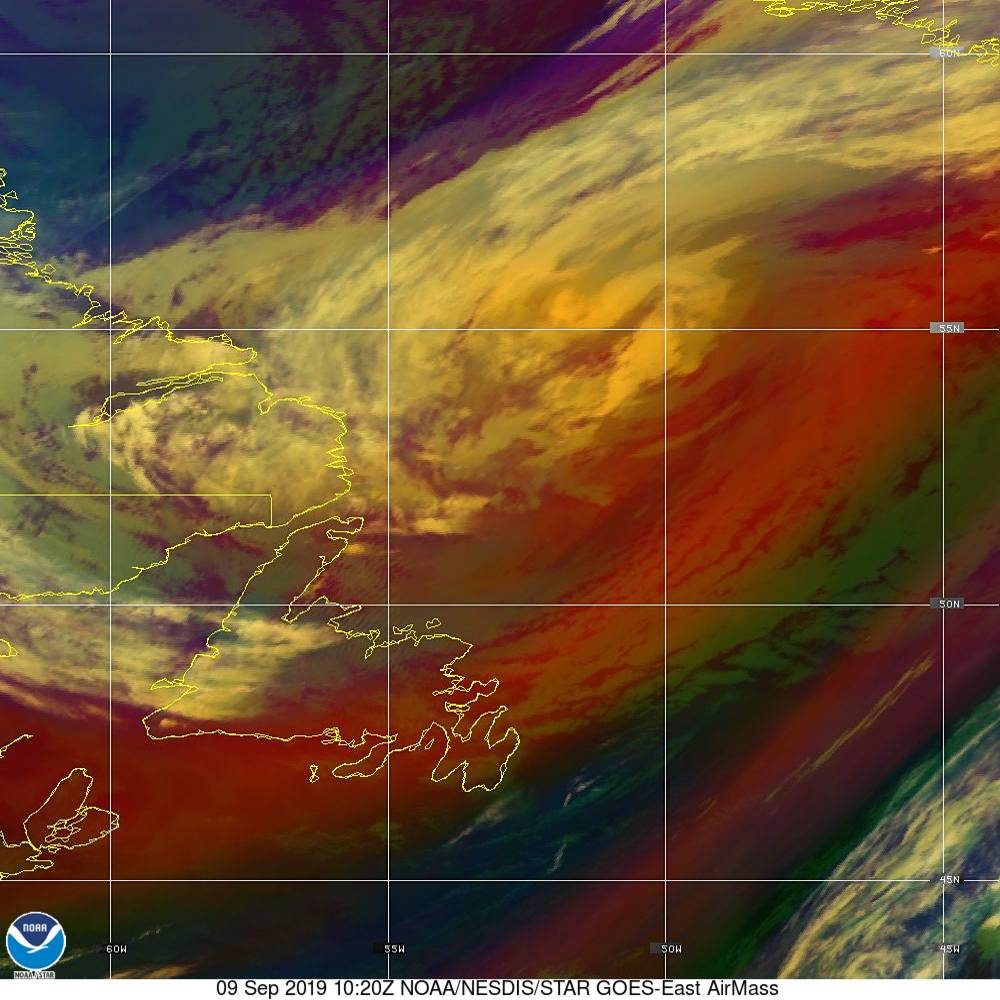 Air Mass - RGB composite based on the data from IR and WV - 09 Sep 2019 - 1020 UTC