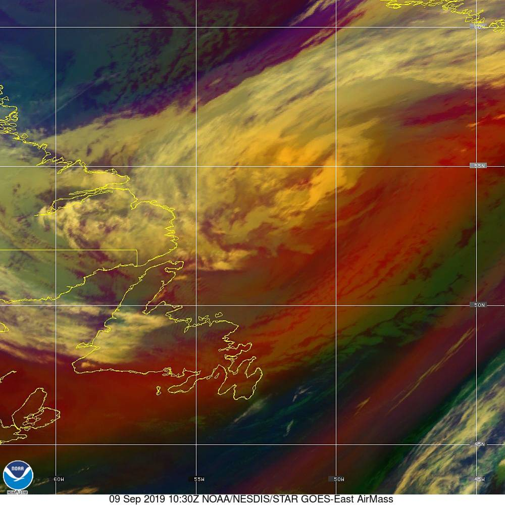 Air Mass - RGB composite based on the data from IR and WV - 09 Sep 2019 - 1030 UTC