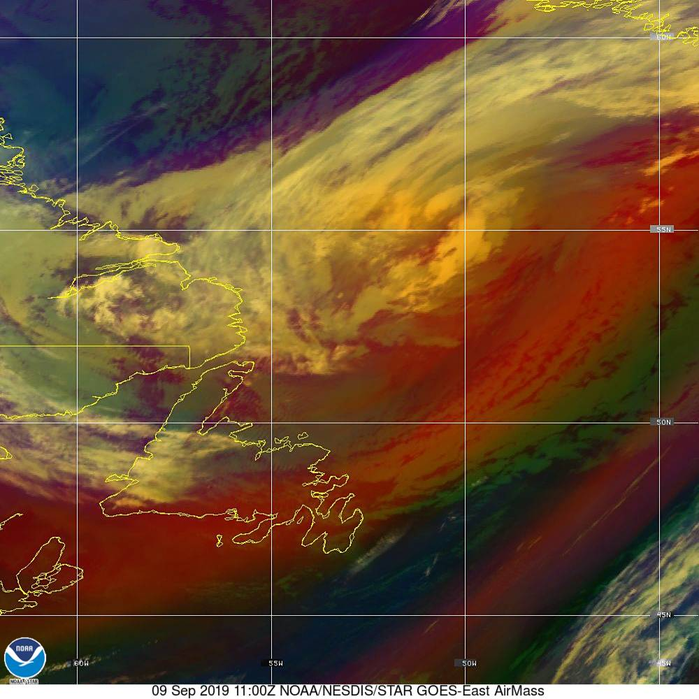Air Mass - RGB composite based on the data from IR and WV - 09 Sep 2019 - 1100 UTC