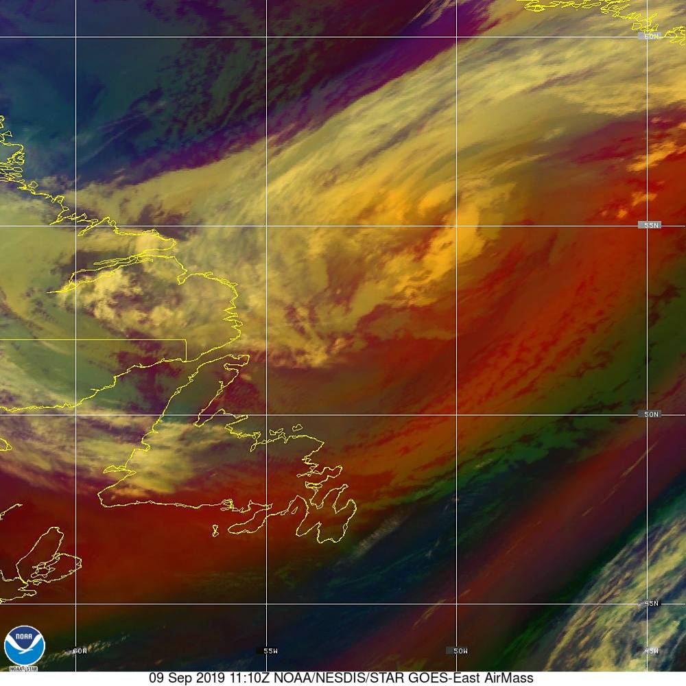 Air Mass - RGB composite based on the data from IR and WV - 09 Sep 2019 - 1110 UTC