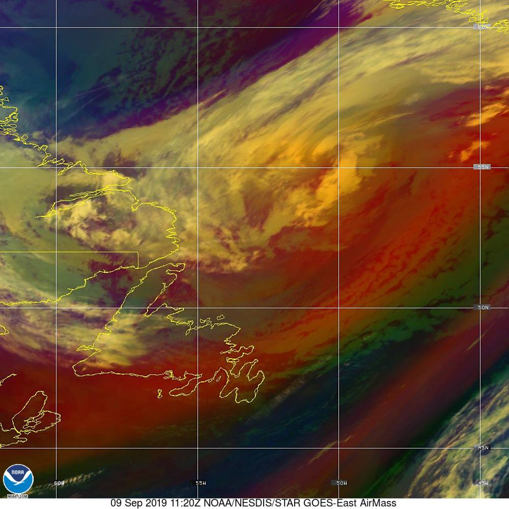Air Mass - RGB composite based on the data from IR and WV - 09 Sep 2019 - 1120 UTC