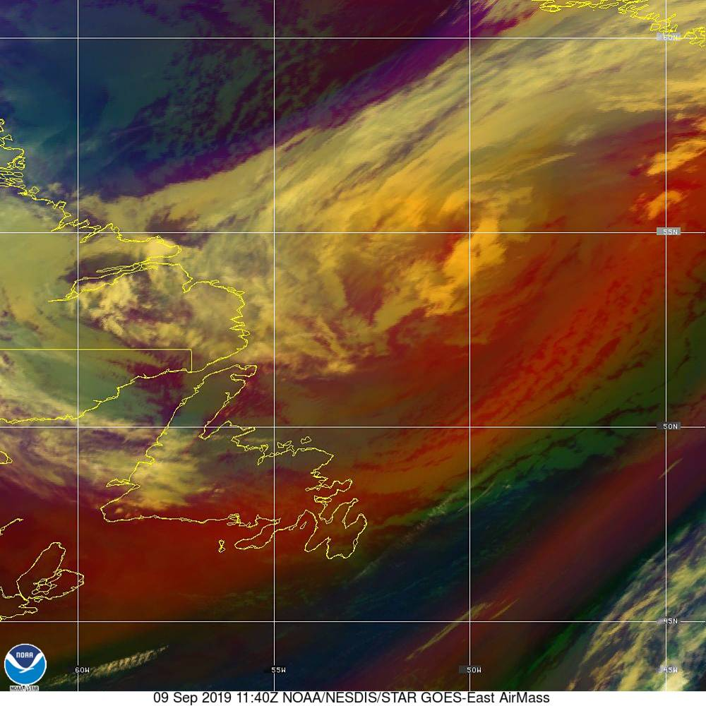 Air Mass - RGB composite based on the data from IR and WV - 09 Sep 2019 - 1140 UTC