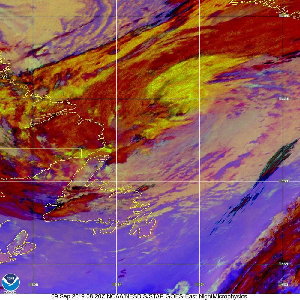 Nighttime Microphysics - RGB used to distinguish clouds from fog - 09 Sep 2019 - 0820 UTC