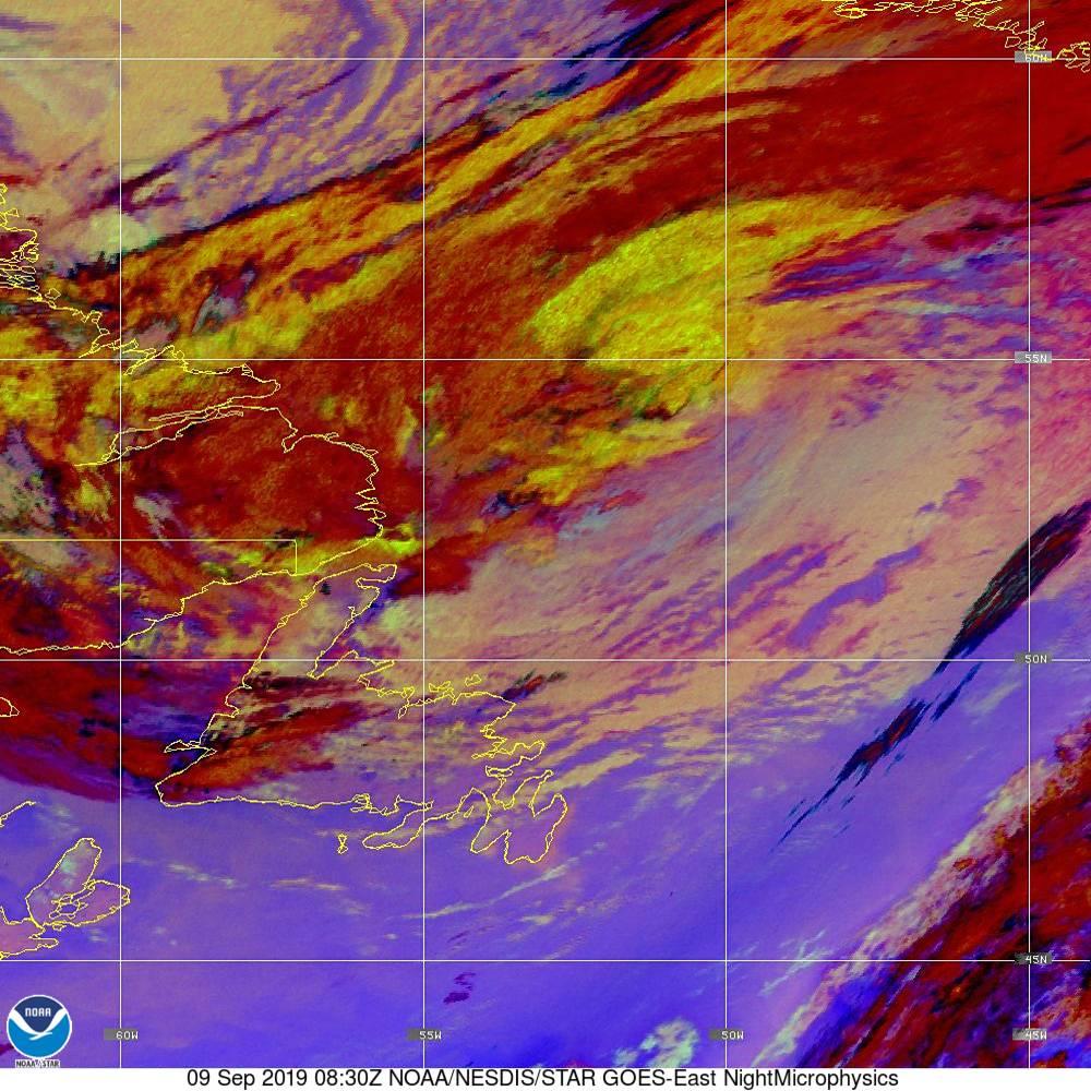 Nighttime Microphysics - RGB used to distinguish clouds from fog - 09 Sep 2019 - 0830 UTC