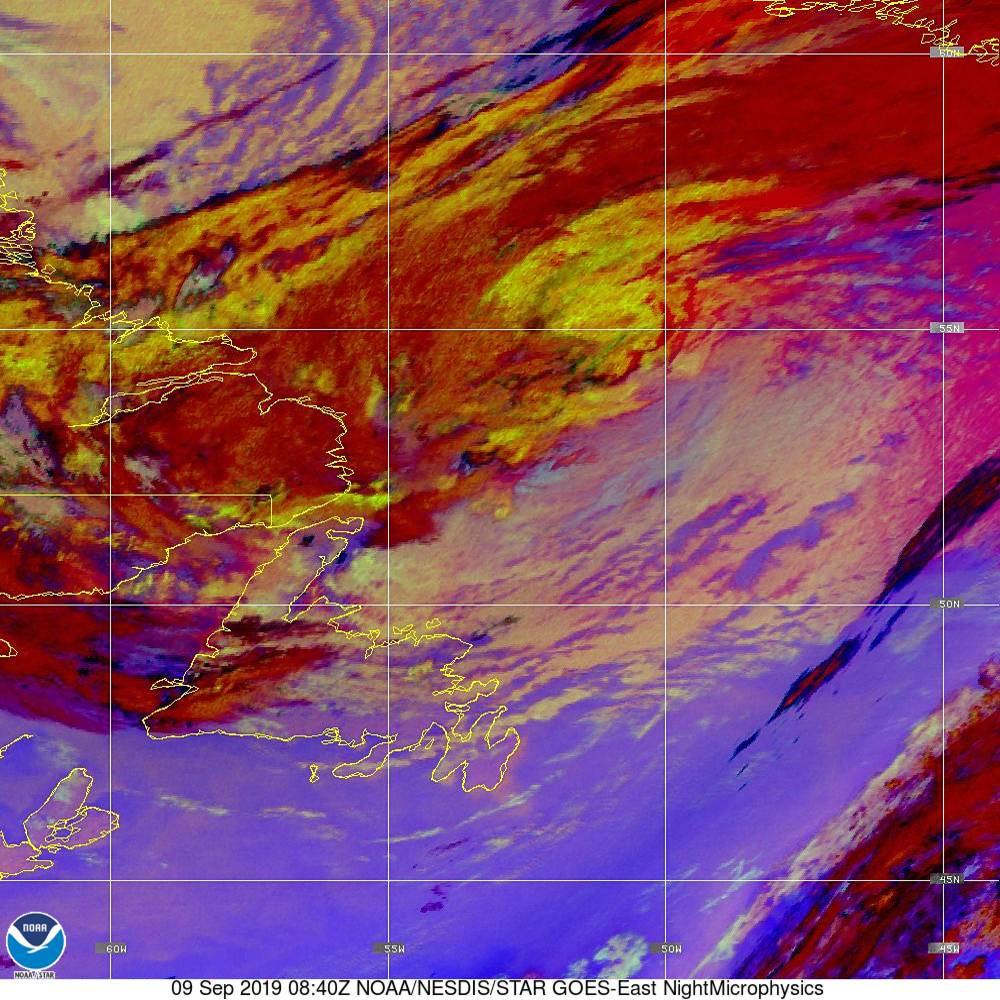 Nighttime Microphysics - RGB used to distinguish clouds from fog - 09 Sep 2019 - 0840 UTC