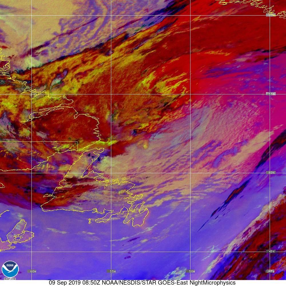 Nighttime Microphysics - RGB used to distinguish clouds from fog - 09 Sep 2019 - 0850 UTC