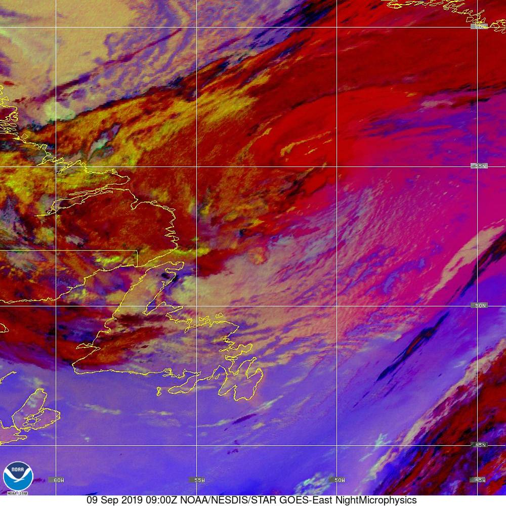 Nighttime Microphysics - RGB used to distinguish clouds from fog - 09 Sep 2019 - 0900 UTC