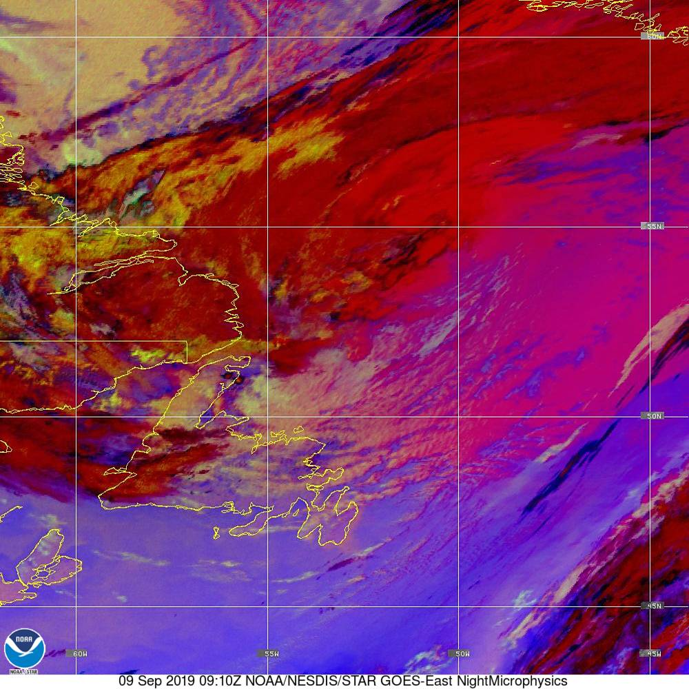 Nighttime Microphysics - RGB used to distinguish clouds from fog - 09 Sep 2019 - 0910 UTC
