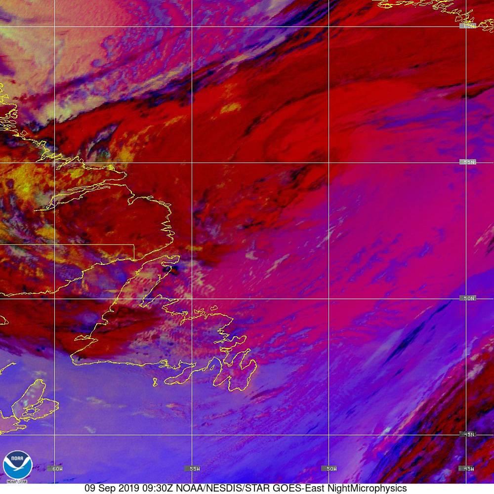 Nighttime Microphysics - RGB used to distinguish clouds from fog - 09 Sep 2019 - 0930 UTC