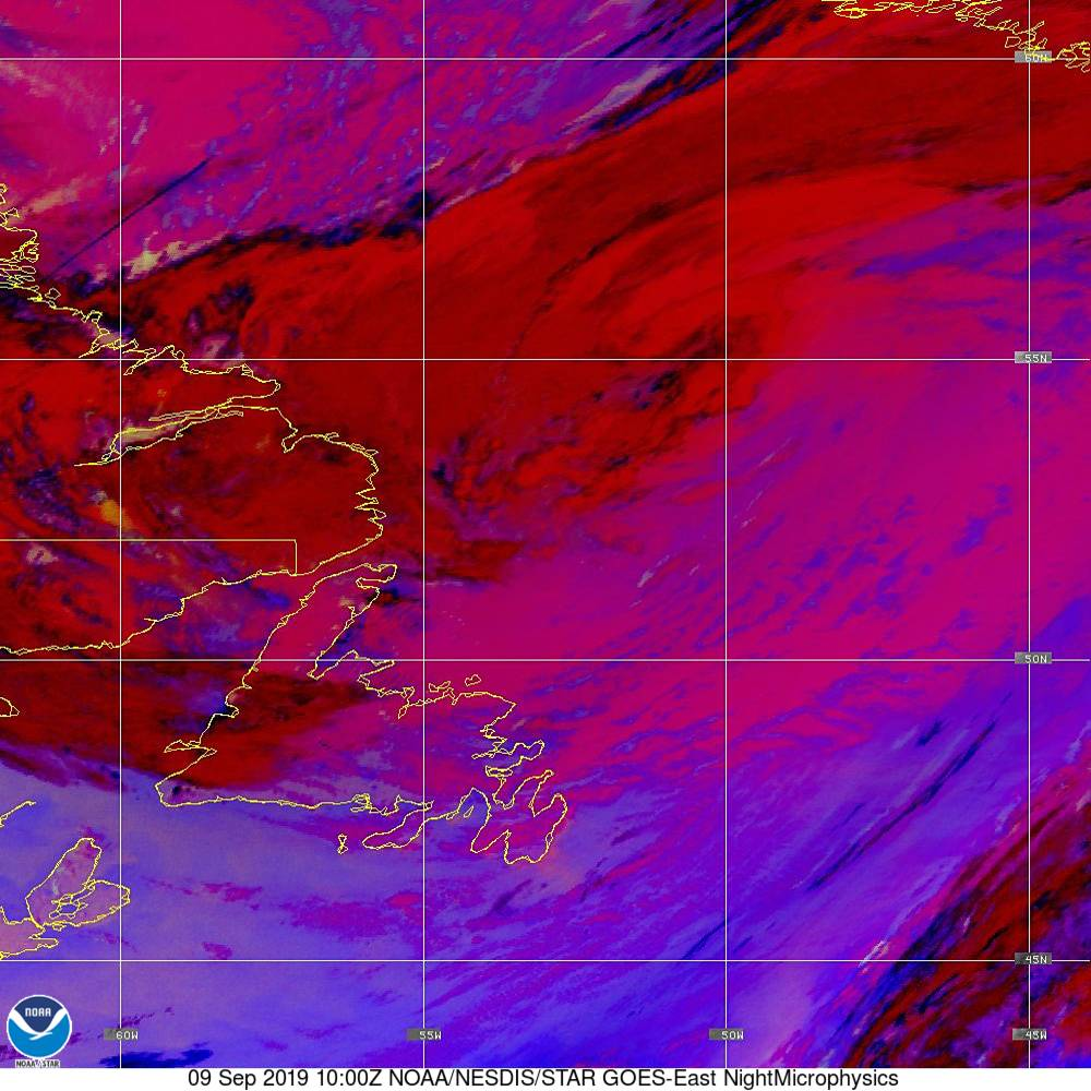 Nighttime Microphysics - RGB used to distinguish clouds from fog - 09 Sep 2019 - 1000 UTC