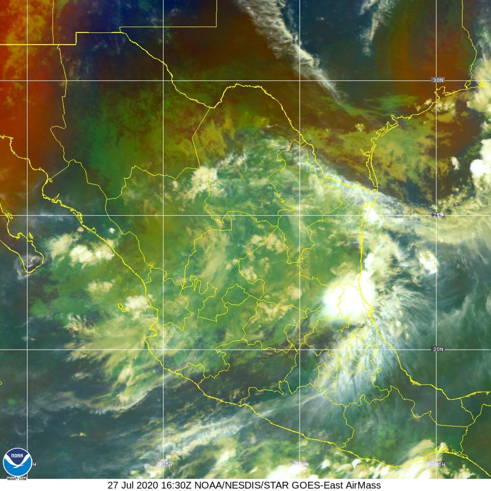 Air Mass - RGB composite based on the data from IR and WV - 27 Jul 2020 - 1630 UTC