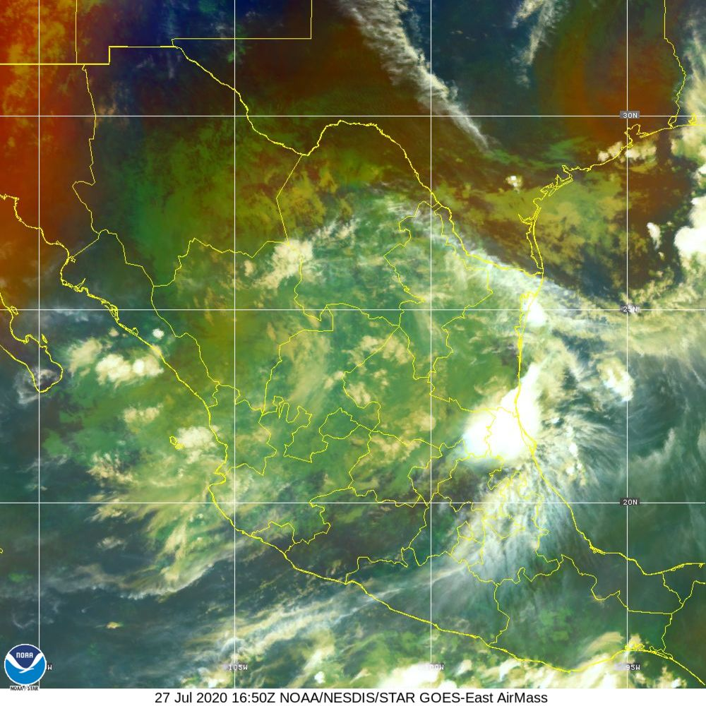 Air Mass - RGB composite based on the data from IR and WV - 27 Jul 2020 - 1650 UTC