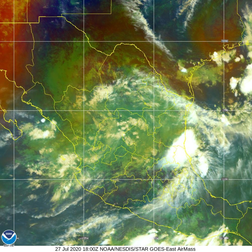 Air Mass - RGB composite based on the data from IR and WV - 27 Jul 2020 - 1800 UTC
