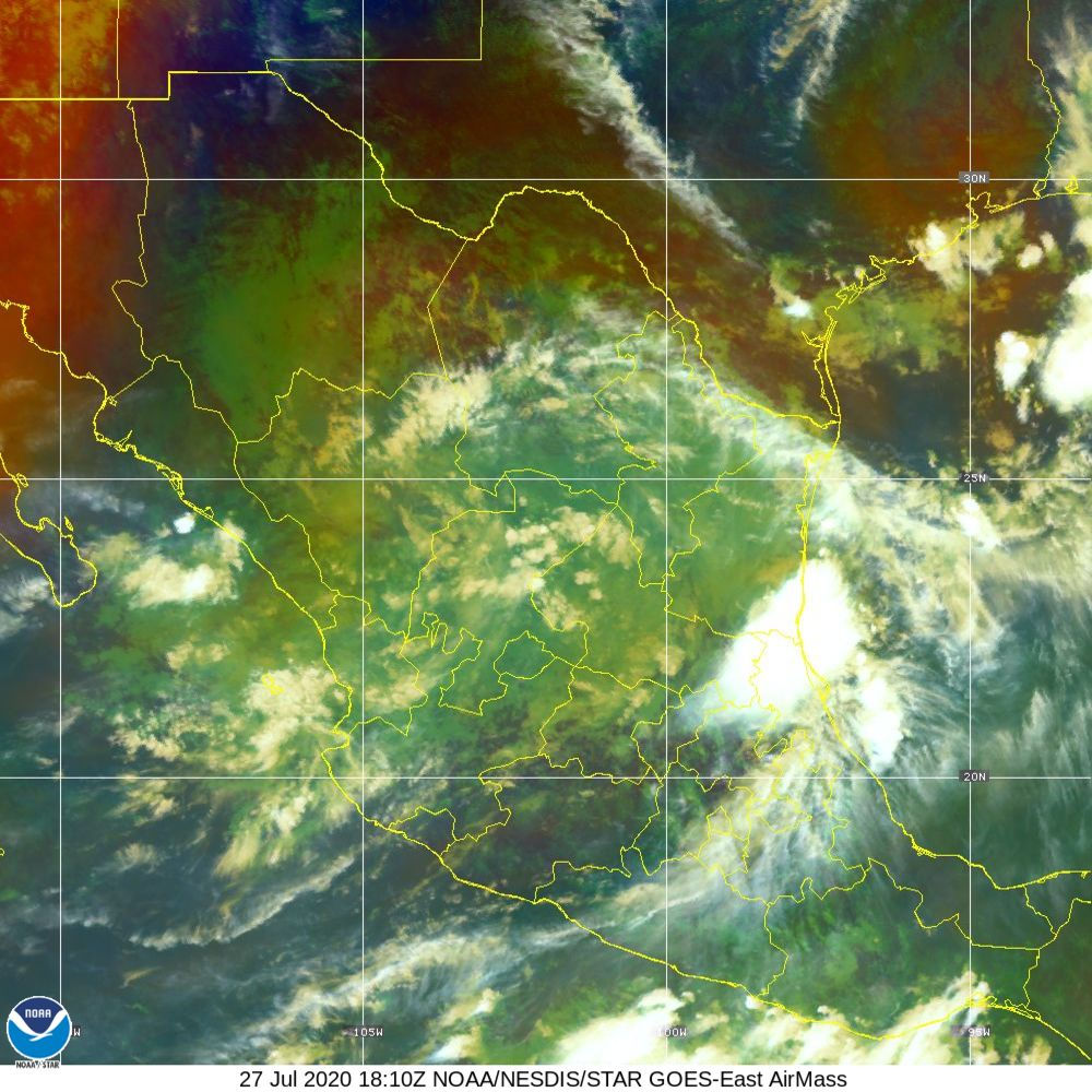 Air Mass - RGB composite based on the data from IR and WV - 27 Jul 2020 - 1810 UTC