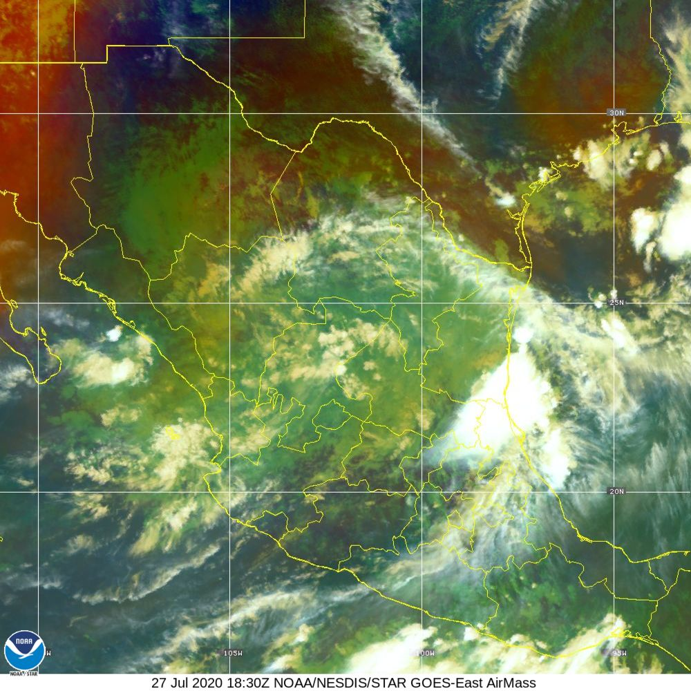 Air Mass - RGB composite based on the data from IR and WV - 27 Jul 2020 - 1830 UTC