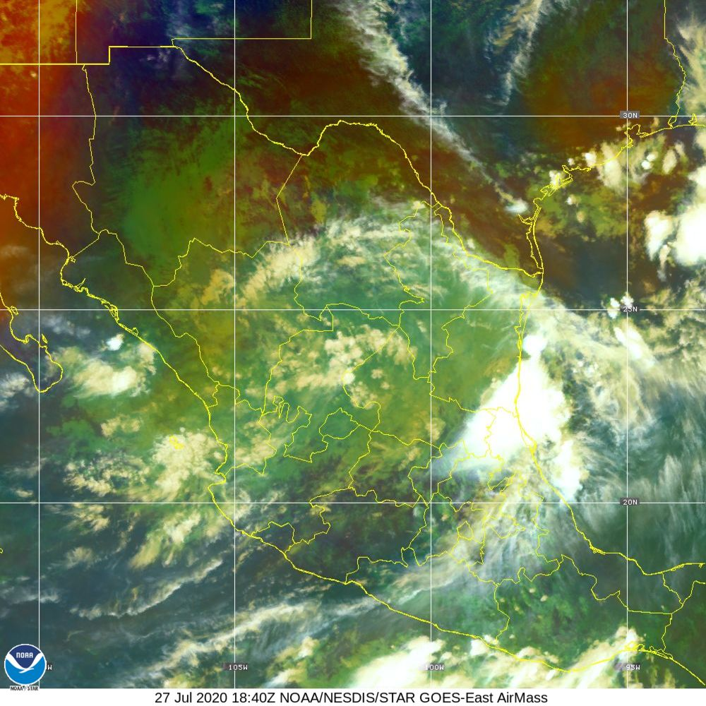 Air Mass - RGB composite based on the data from IR and WV - 27 Jul 2020 - 1840 UTC
