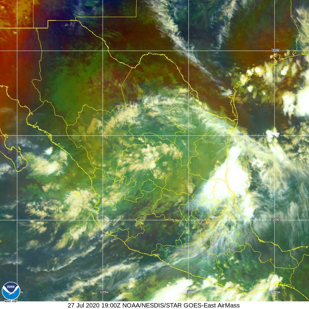 Air Mass - RGB composite based on the data from IR and WV - 27 Jul 2020 - 1900 UTC