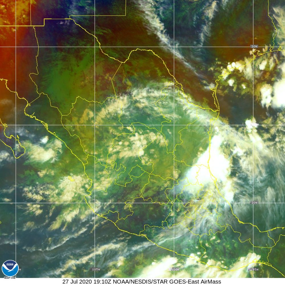 Air Mass - RGB composite based on the data from IR and WV - 27 Jul 2020 - 1910 UTC