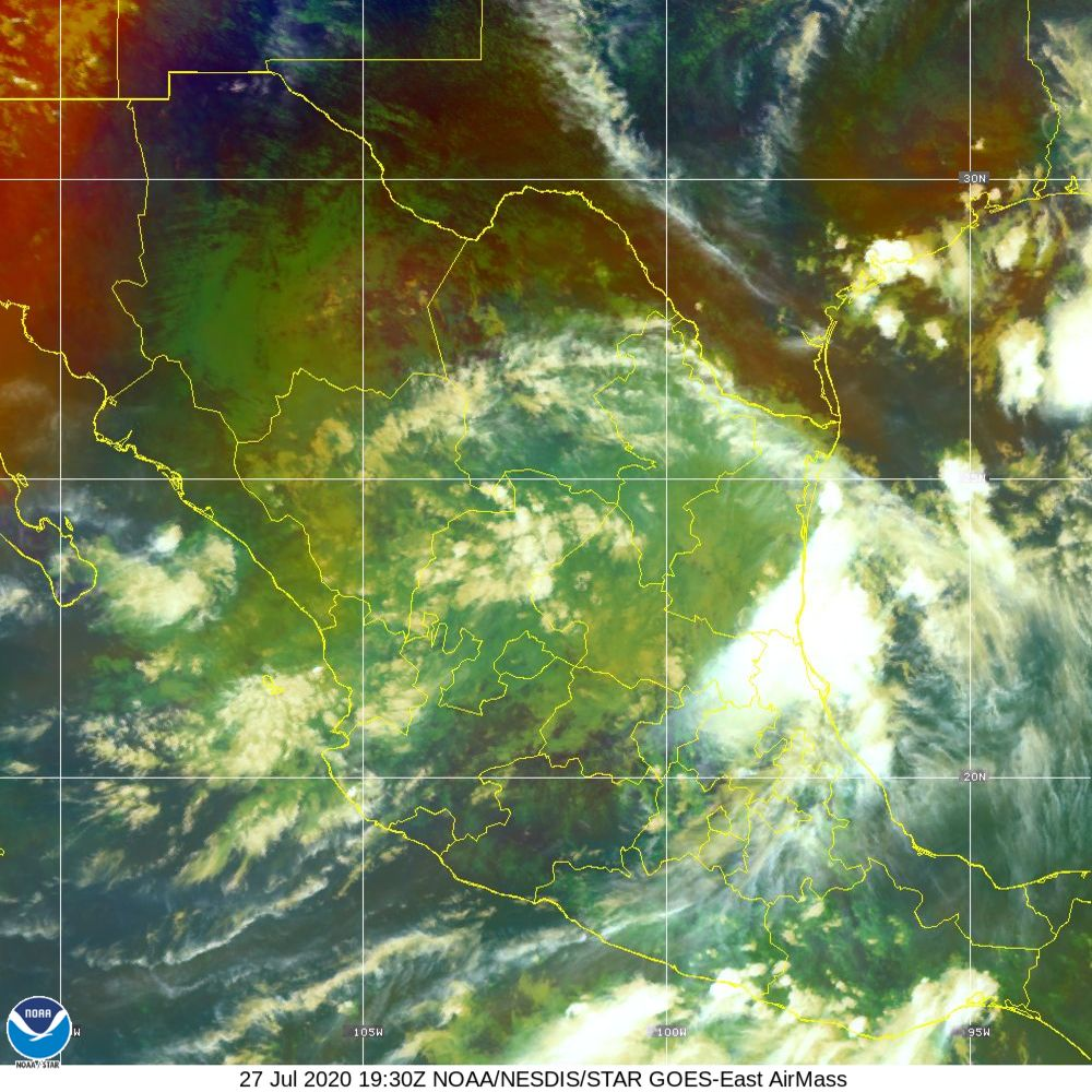 Air Mass - RGB composite based on the data from IR and WV - 27 Jul 2020 - 1930 UTC