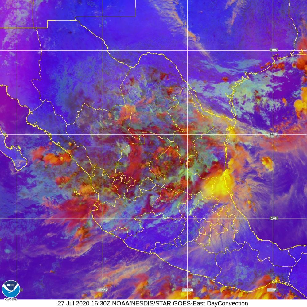 Day Convection - RGB used to identify areas of rapid intensification - 27 Jul 2020 - 1630 UTC