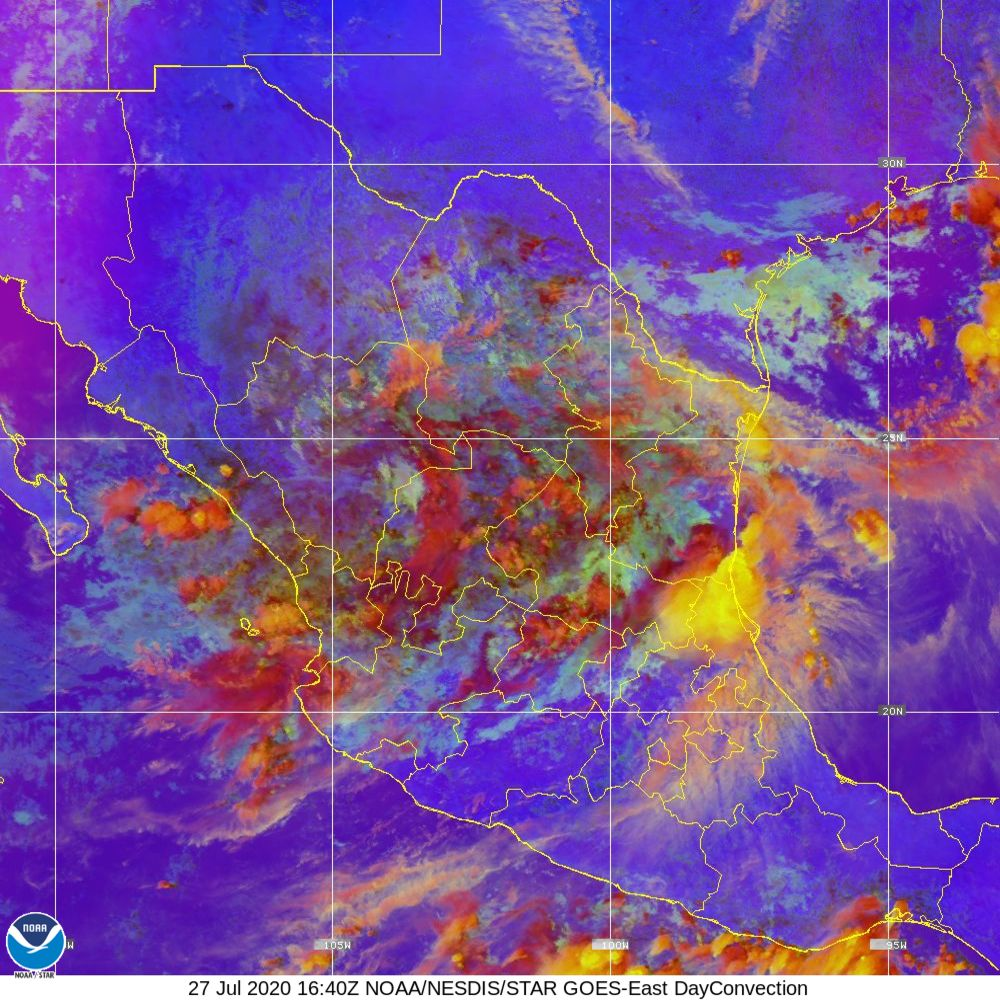 Day Convection - RGB used to identify areas of rapid intensification - 27 Jul 2020 - 1640 UTC