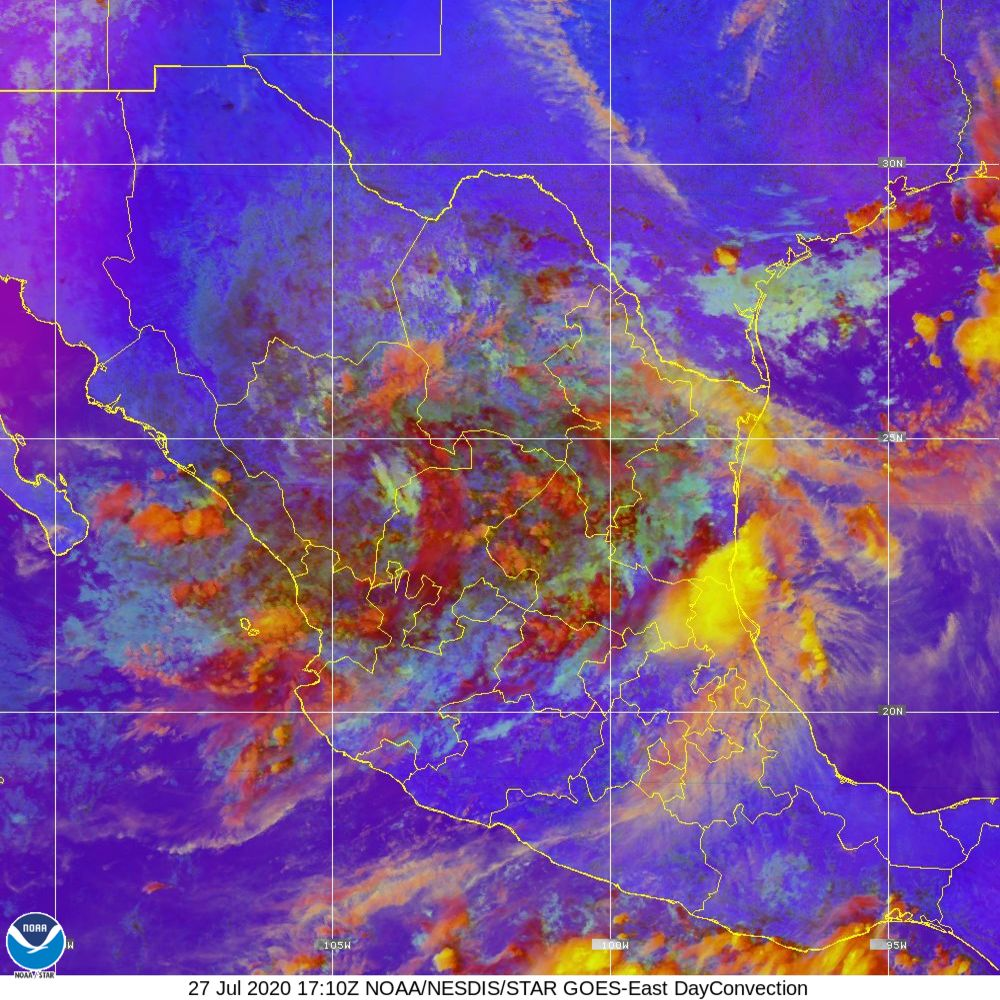 Day Convection - RGB used to identify areas of rapid intensification - 27 Jul 2020 - 1710 UTC