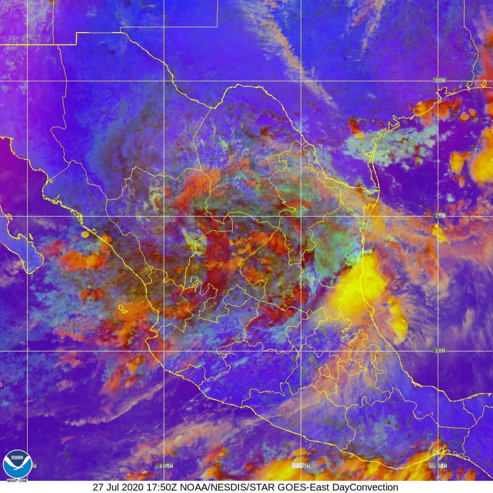 Day Convection - RGB used to identify areas of rapid intensification - 27 Jul 2020 - 1750 UTC