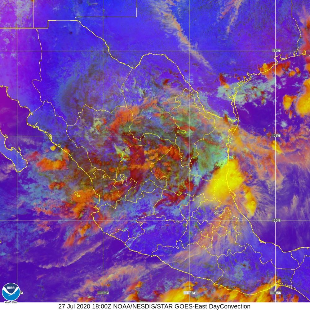 Day Convection - RGB used to identify areas of rapid intensification - 27 Jul 2020 - 1800 UTC