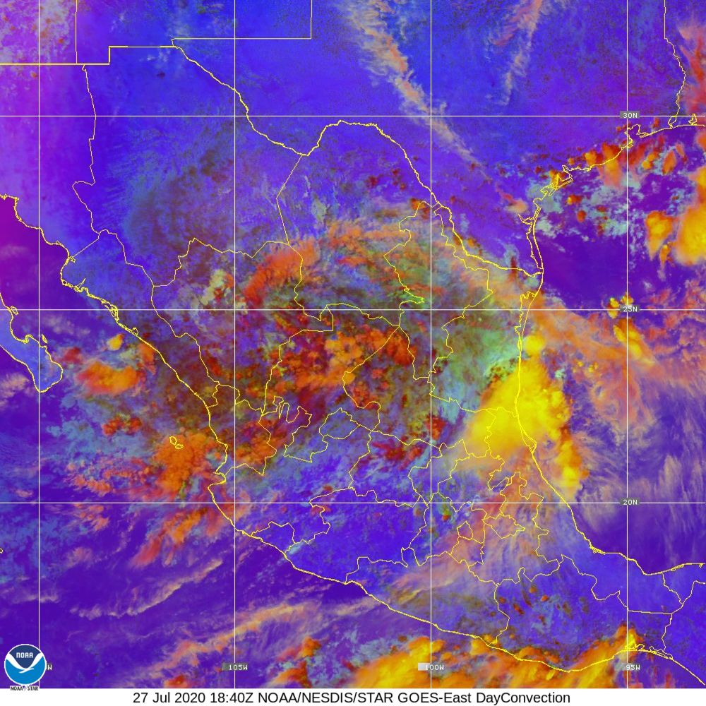 Day Convection - RGB used to identify areas of rapid intensification - 27 Jul 2020 - 1840 UTC