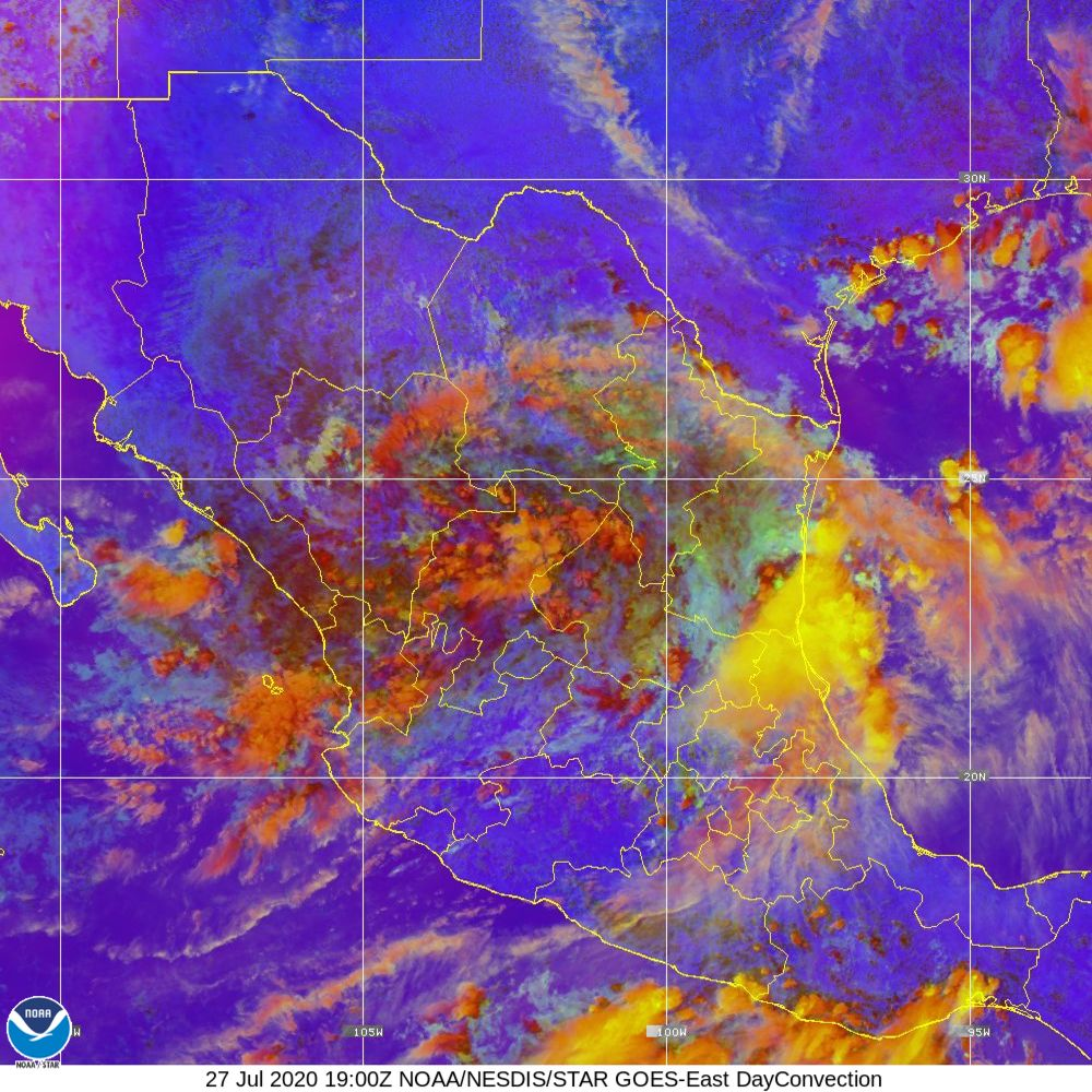 Day Convection - RGB used to identify areas of rapid intensification - 27 Jul 2020 - 1900 UTC