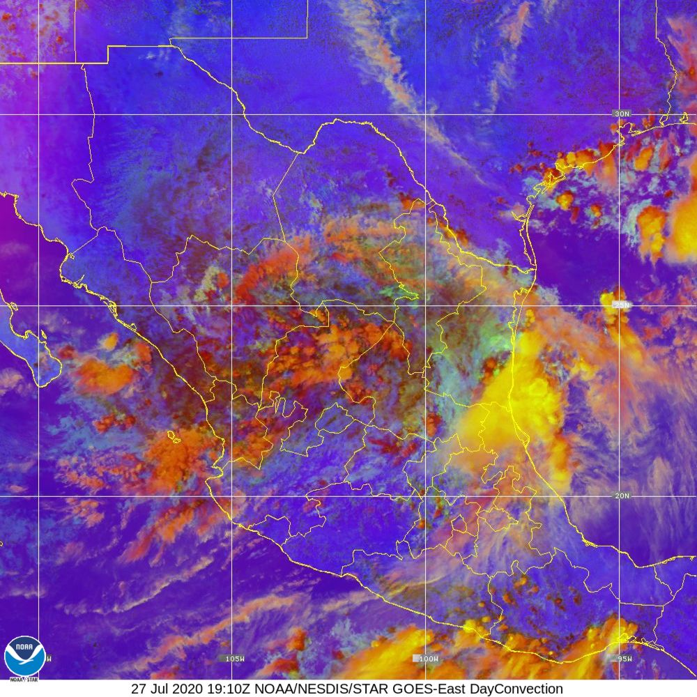 Day Convection - RGB used to identify areas of rapid intensification - 27 Jul 2020 - 1910 UTC