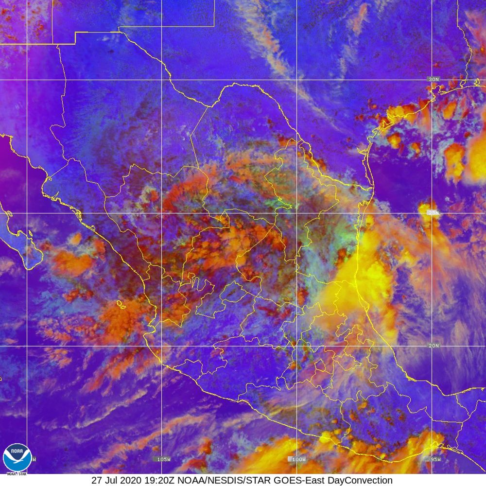 Day Convection - RGB used to identify areas of rapid intensification - 27 Jul 2020 - 1920 UTC