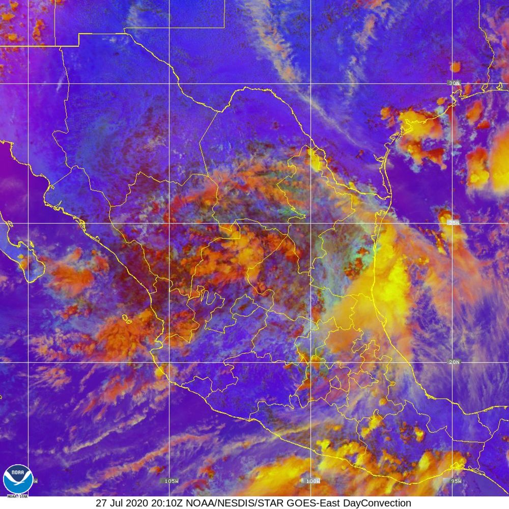 Day Convection - RGB used to identify areas of rapid intensification - 27 Jul 2020 - 2010 UTC