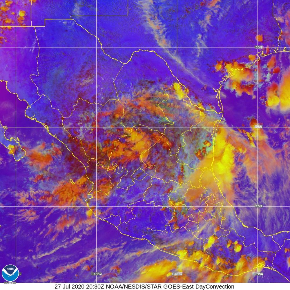 Day Convection - RGB used to identify areas of rapid intensification - 27 Jul 2020 - 2030 UTC
