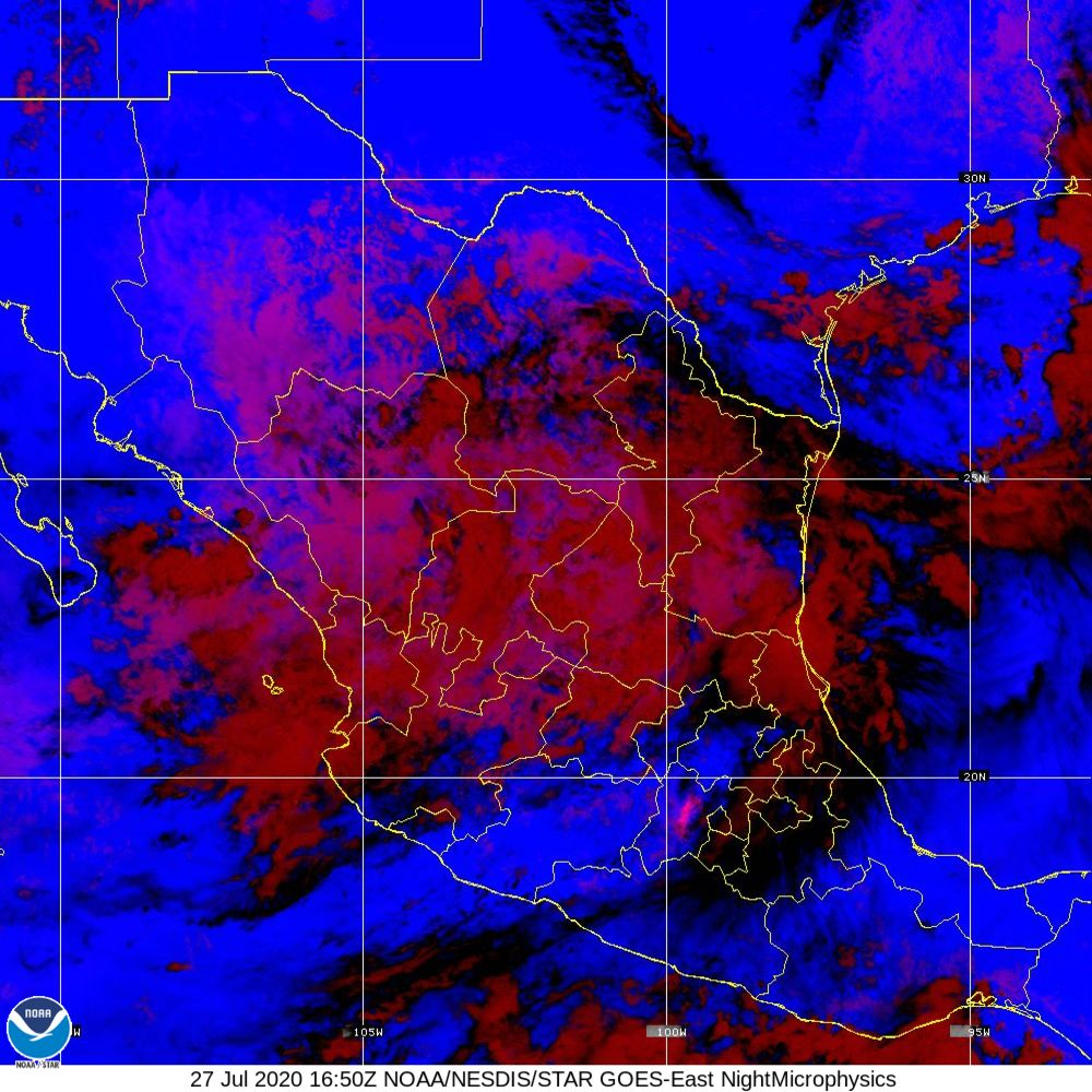 Nighttime Microphysics - RGB used to distinguish clouds from fog - 27 Jul 2020 - 1650 UTC
