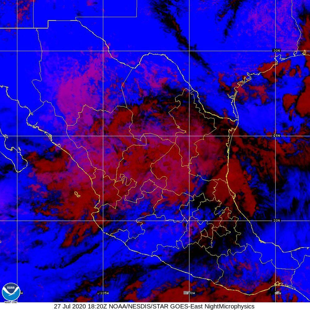 Nighttime Microphysics - RGB used to distinguish clouds from fog - 27 Jul 2020 - 1820 UTC