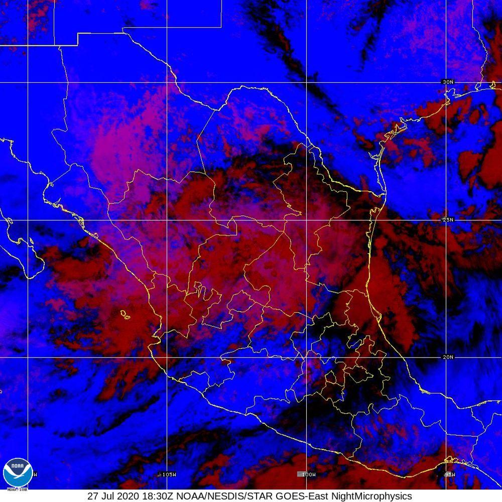 Nighttime Microphysics - RGB used to distinguish clouds from fog - 27 Jul 2020 - 1830 UTC