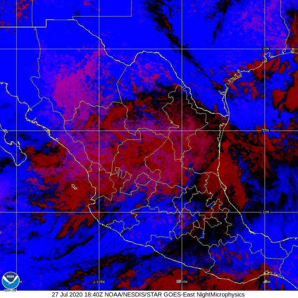 Nighttime Microphysics - RGB used to distinguish clouds from fog - 27 Jul 2020 - 1840 UTC