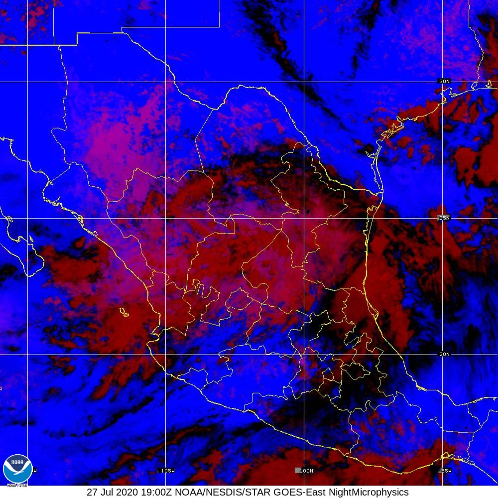 Nighttime Microphysics - RGB used to distinguish clouds from fog - 27 Jul 2020 - 1900 UTC