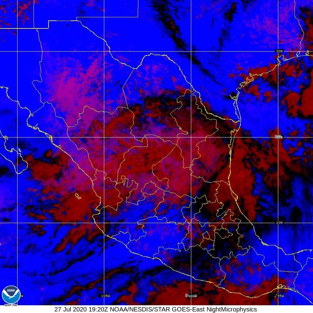 Nighttime Microphysics - RGB used to distinguish clouds from fog - 27 Jul 2020 - 1920 UTC