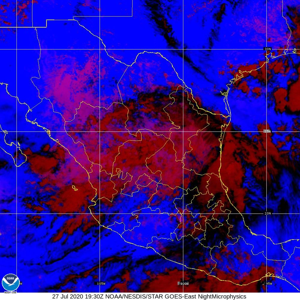 Nighttime Microphysics - RGB used to distinguish clouds from fog - 27 Jul 2020 - 1930 UTC